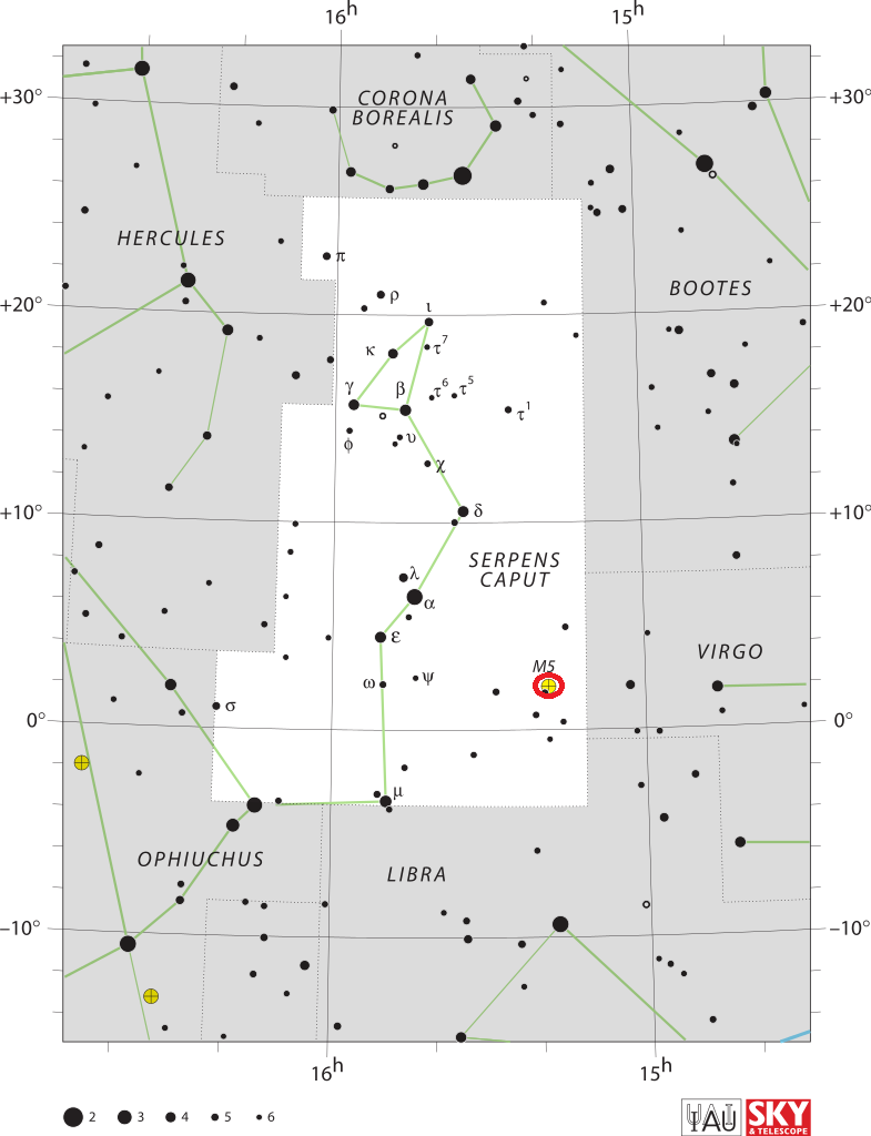 find messier 5,messier 5 map,serpens caput map