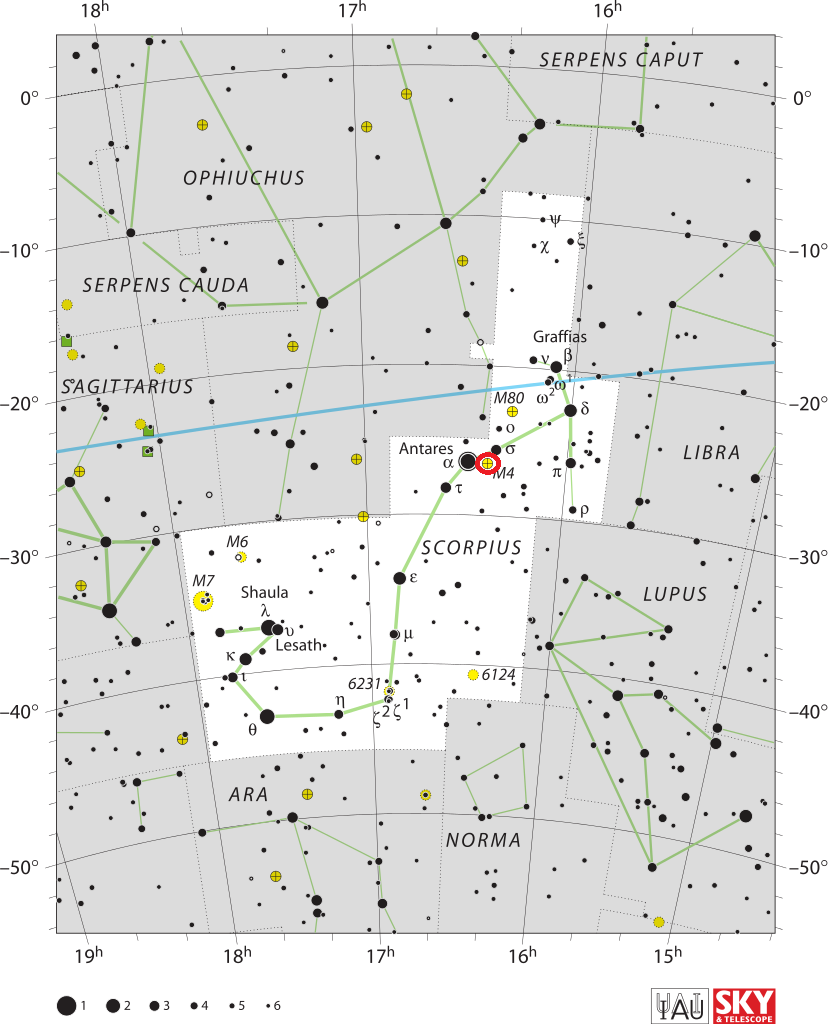 find messier 4,messier 4 map,scorpius map