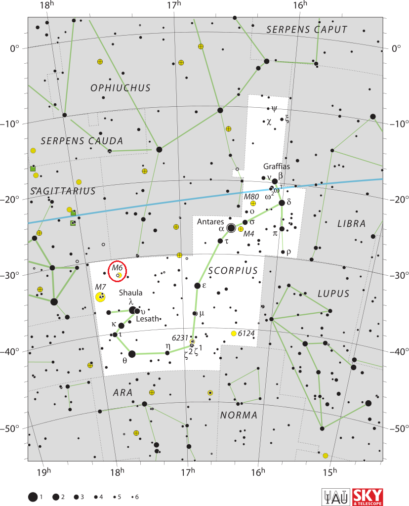 find messier 6,butterfly cluster location