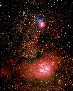 trifid nebula,lagoon nebula,messier 8,messier 20