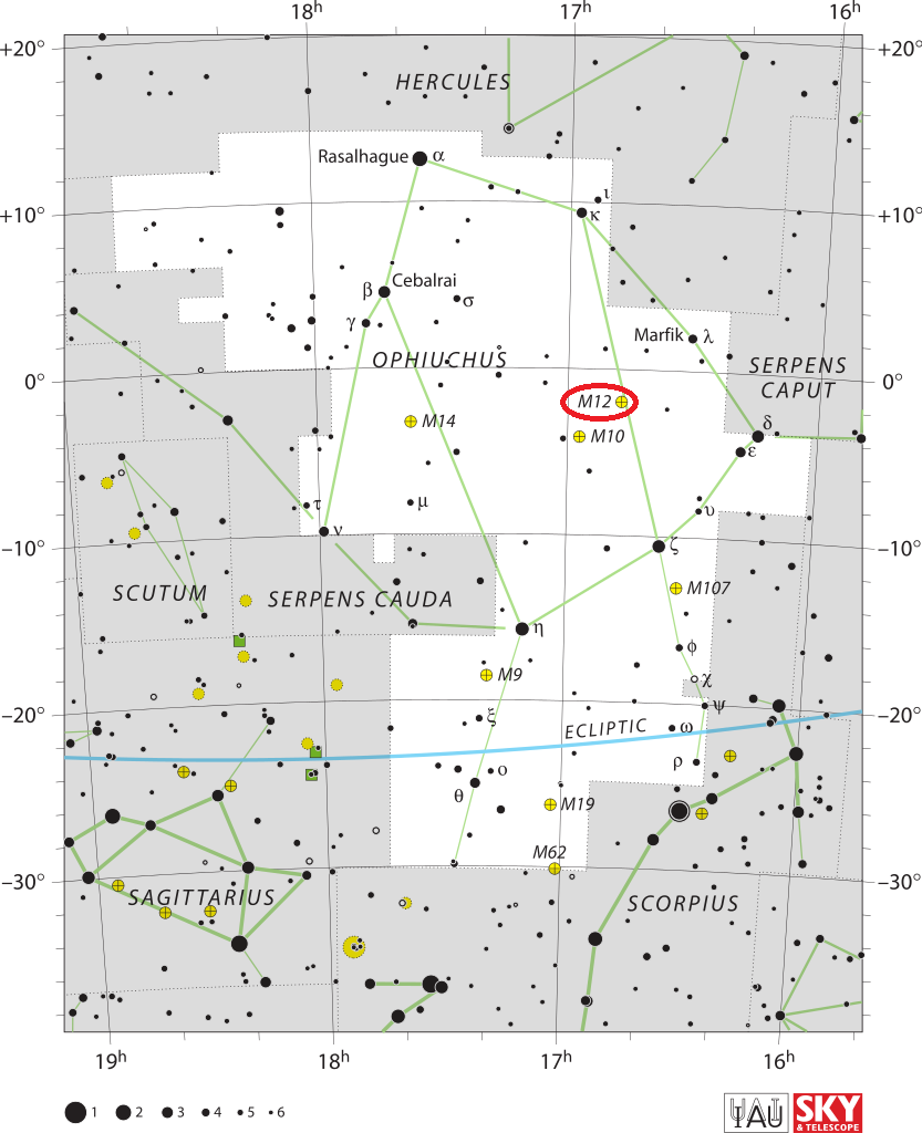 gumball globular location,m12 location,where is messier 12