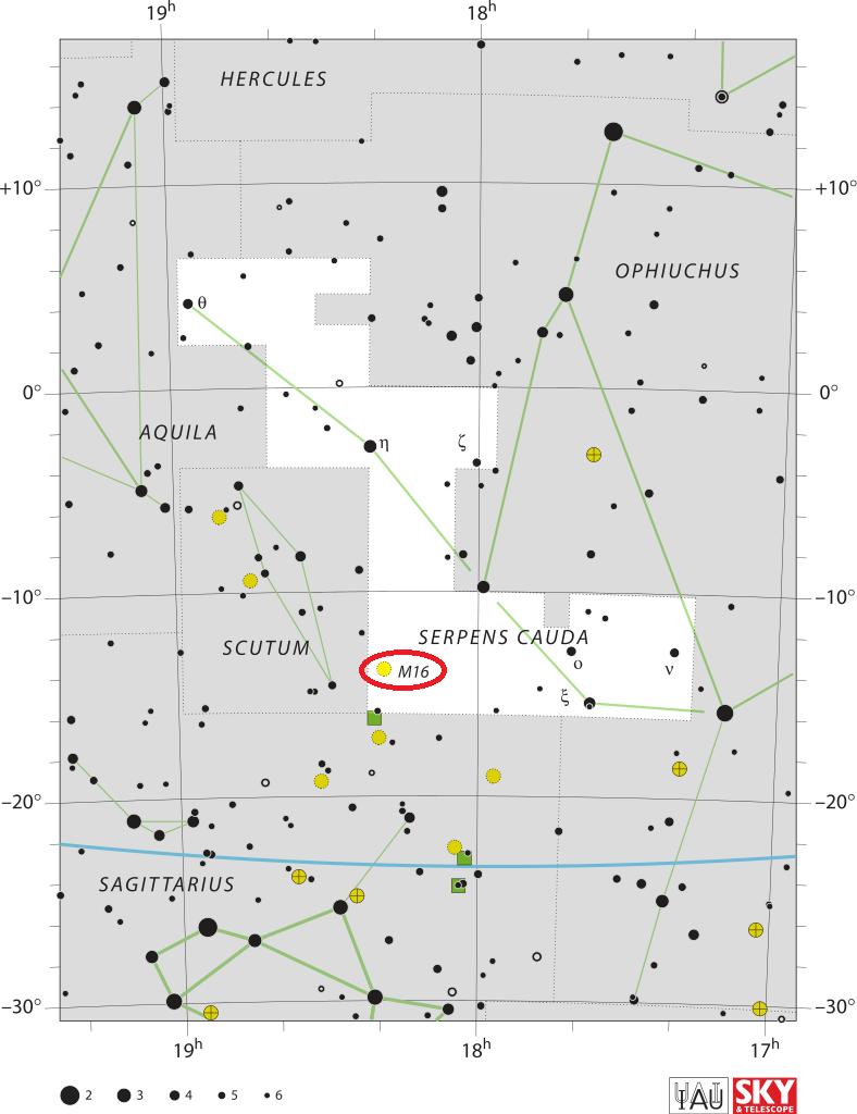 eagle nebula location,find messier 16