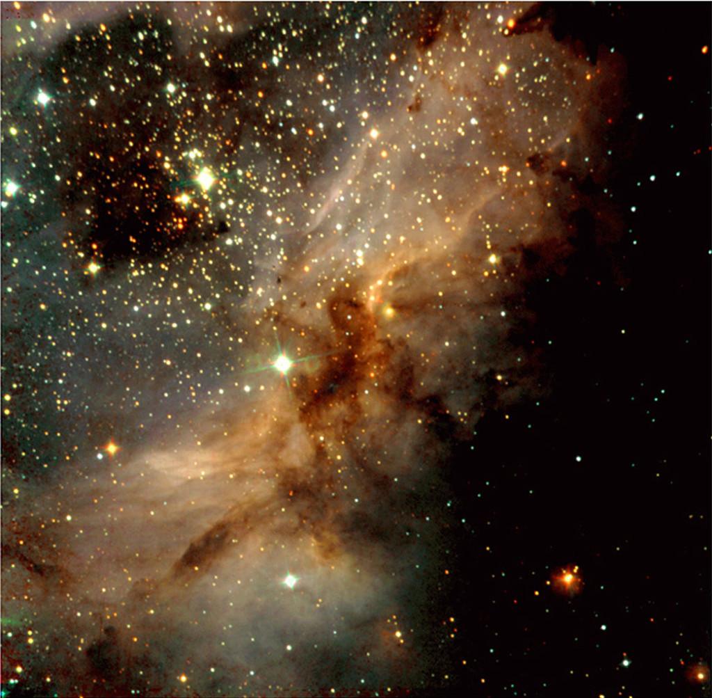 omega nebula near infrared image