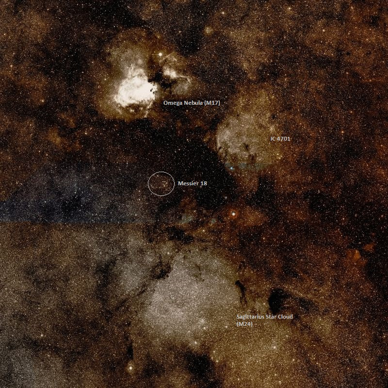 messier 18 location,find m18 and m19