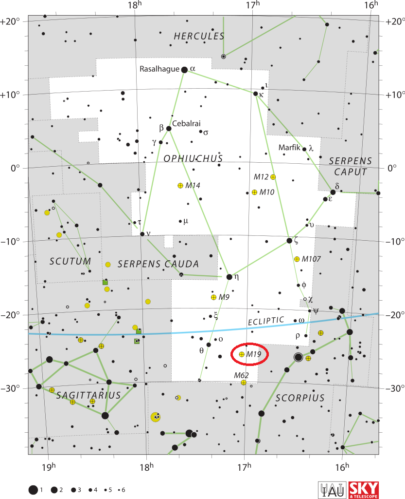 m19 location,find messier 19