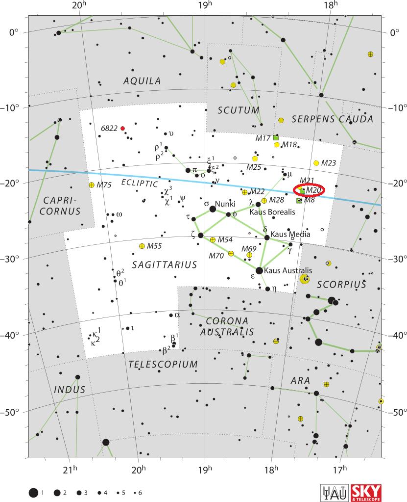 trifid nebula location,where is messier 20,find trifid nebula