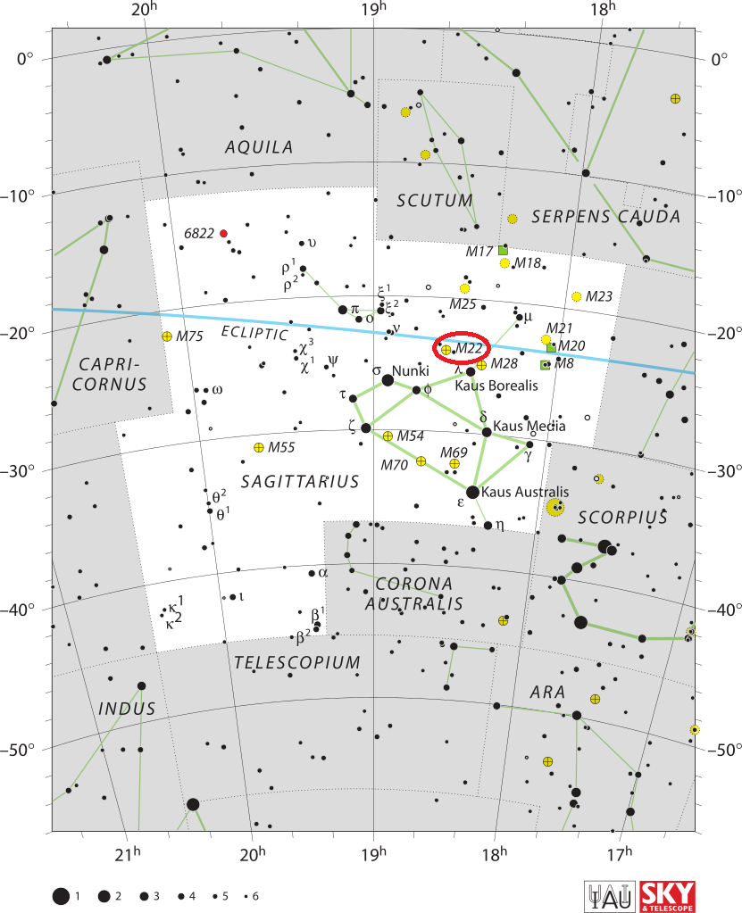 find messier 22,m22 location