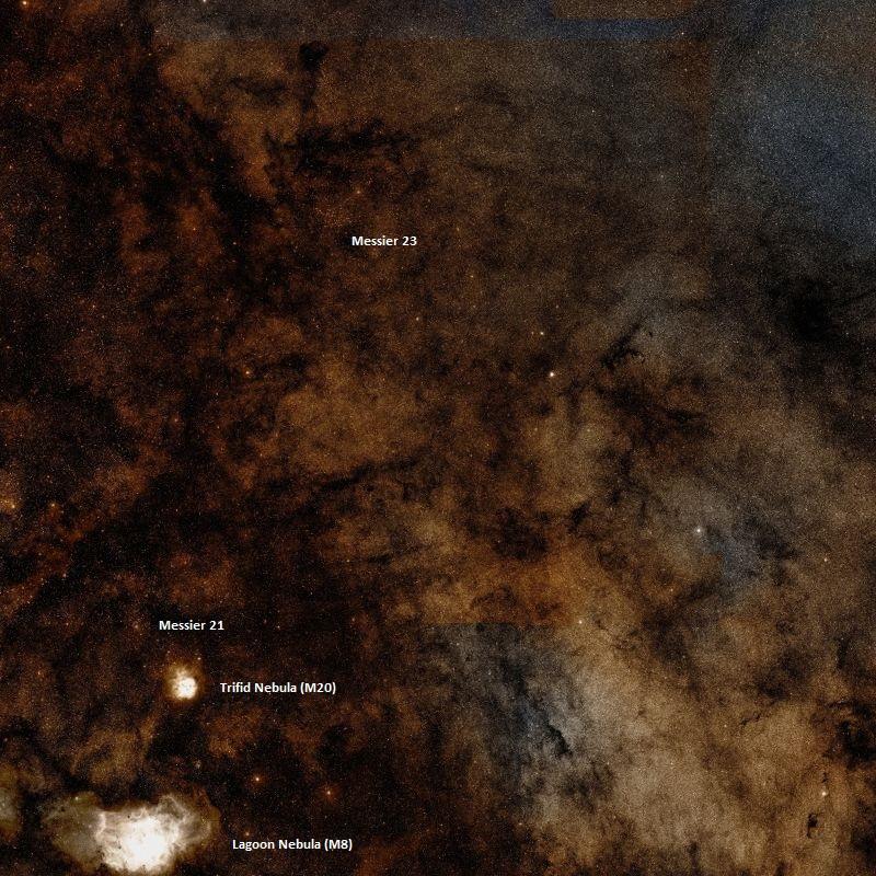 messier 23,trifid nebula,omega nebula,milky way