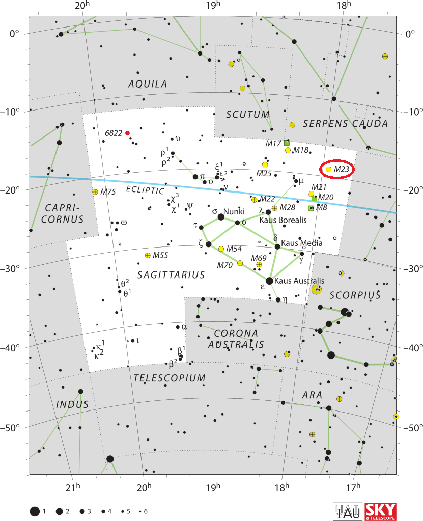 find messier 23,m23 location