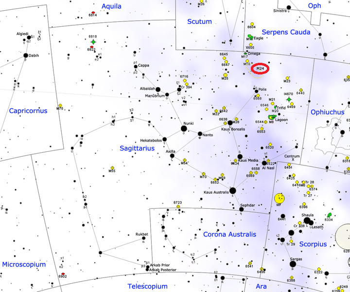 m24 location,find messier 24,where is sagittarius star cloud