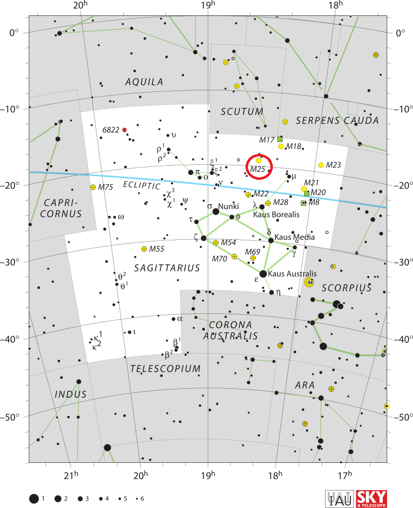m25 location,find messier 25