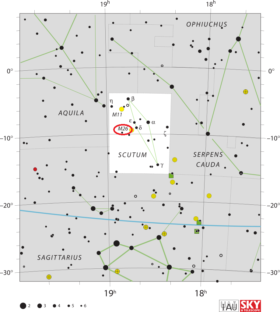 m26 location,find messier 26