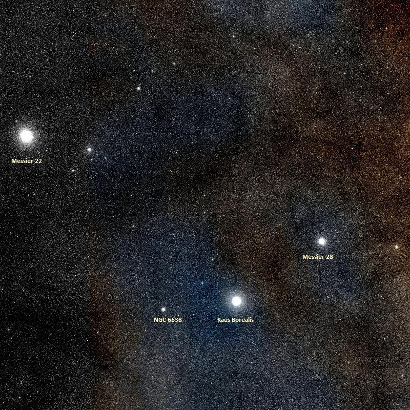 messier 28,messier 22,kaus borealis,sagittarius,globular cluster