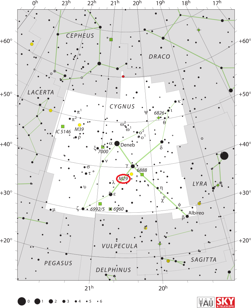 m29 location,find messier 29