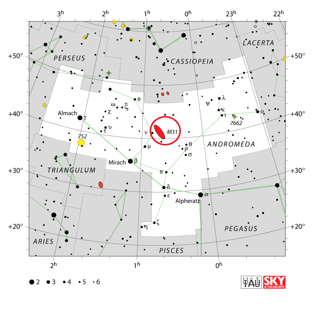 andromeda galaxy location,where is andromeda galaxy,find m31