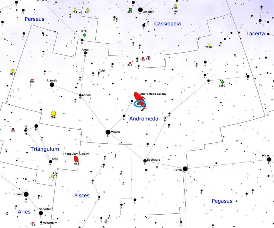 le gentil galaxy location,where is messier 32, find messier 32