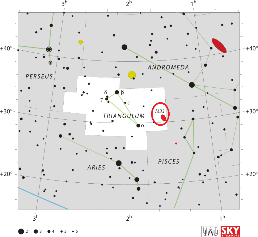 triangulum galaxy location,find messier 33,where is triangulum