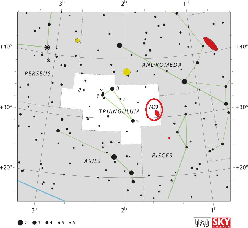 triangulum galaxy location,find messier 33,where is triangulum