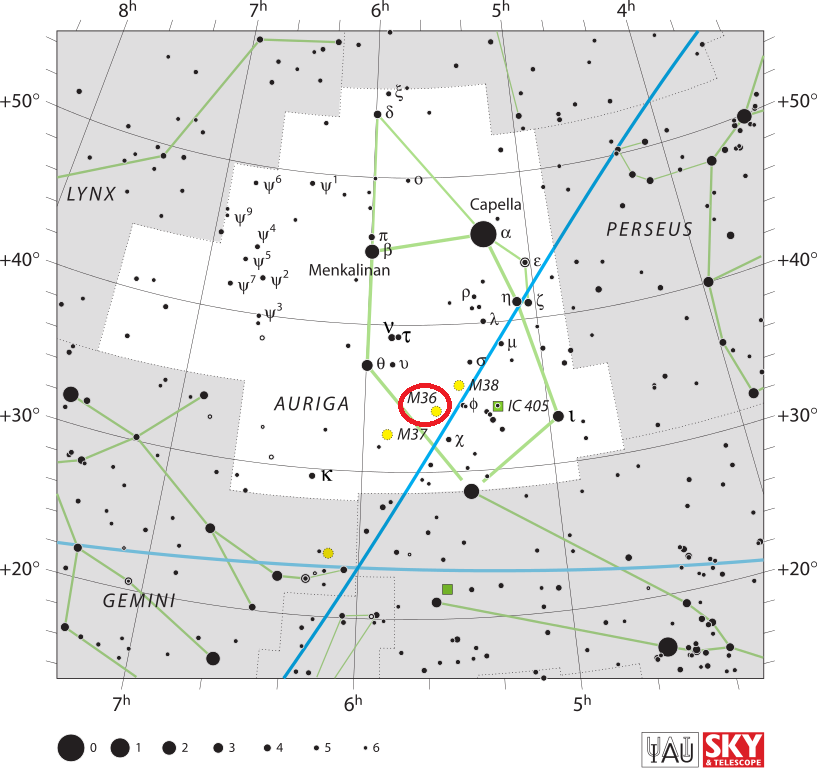 m36 location,find messier 36,pinwheel cluster location