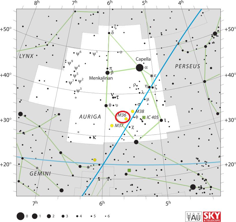 m36 location,find messier 36,pinwheel cluster location