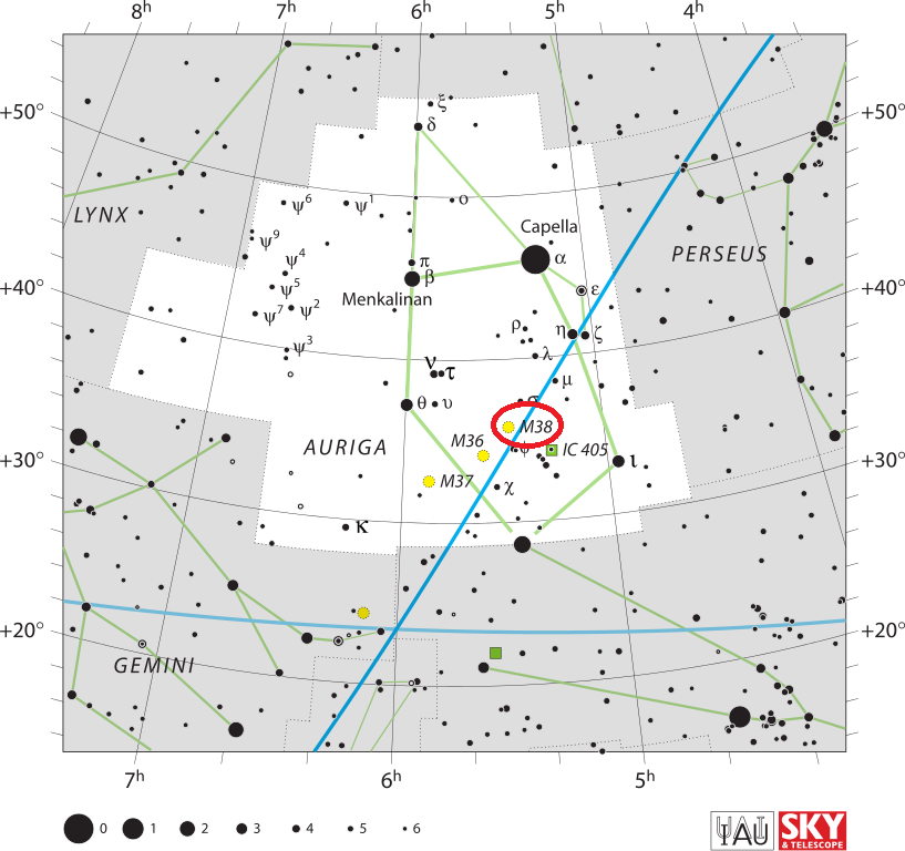m38 location,starfish cluster location,find messier 38