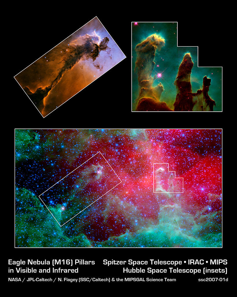 messier 16,pillars of creation,stellar spire,eagle nebula