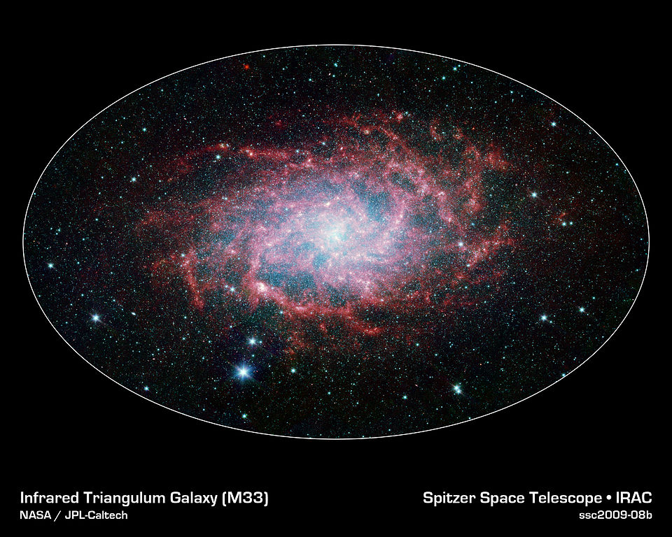 messier 33 infrared,triangulum galaxy spitzer
