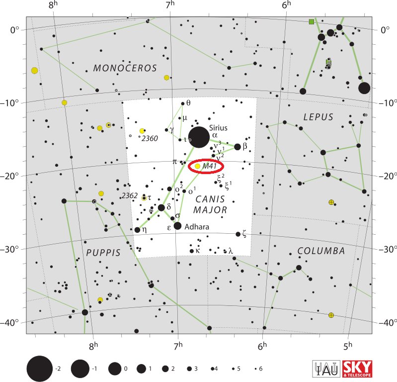 m41 location,find messier 41, where is messier 41