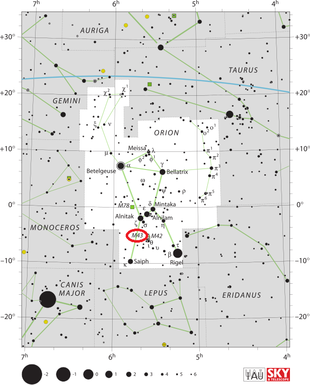de mairan's nebula location,find messier 43,m43 location