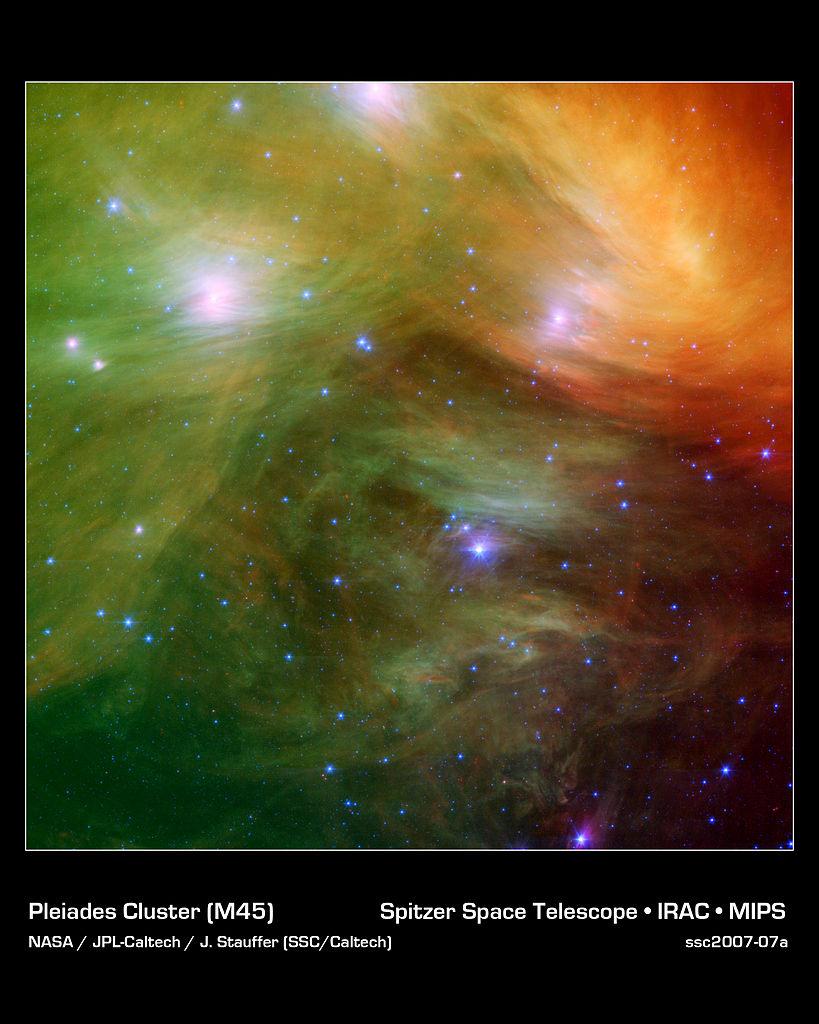 messier 45,pleiades,pleiades infrared image