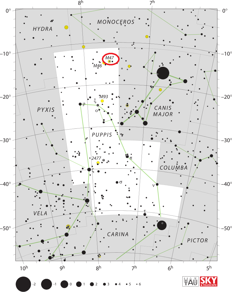 m47 location,messier 47 position,find messier 47,where is m47