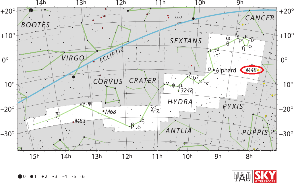 m48 location,where is messier 48,find messier 48,m48 position