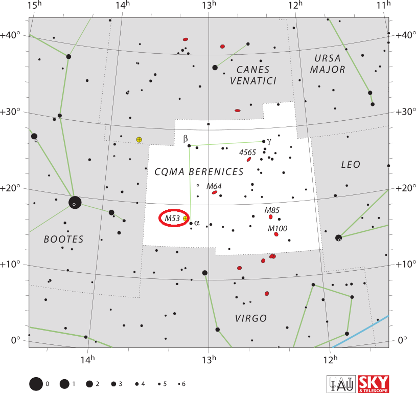 m53 location,find messier 53,where is messier 53