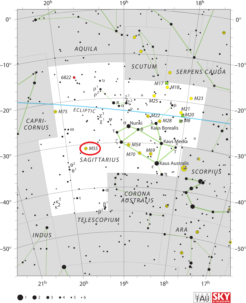 m55 location,find messier 55,where is messier 55