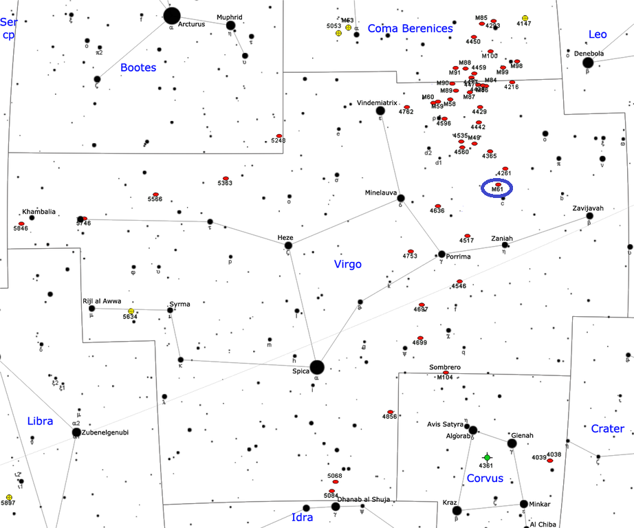 where is messier 61,find m61,m61 location