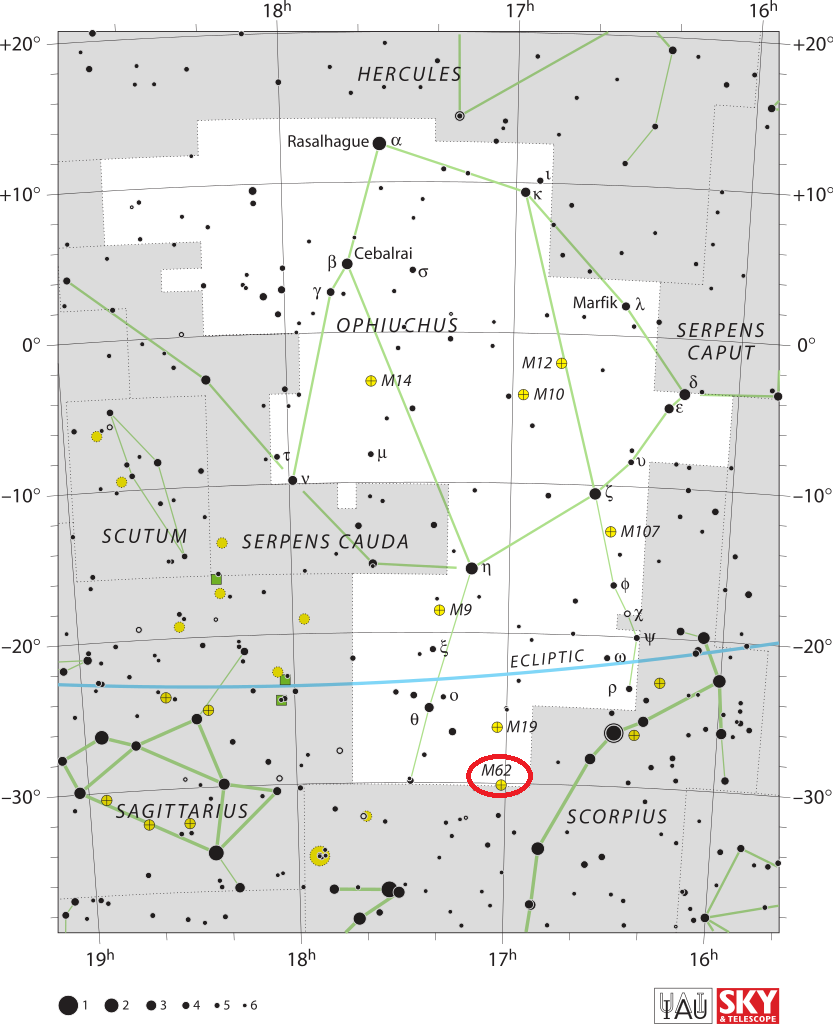 m62 location,where is messier 62,find messier 62