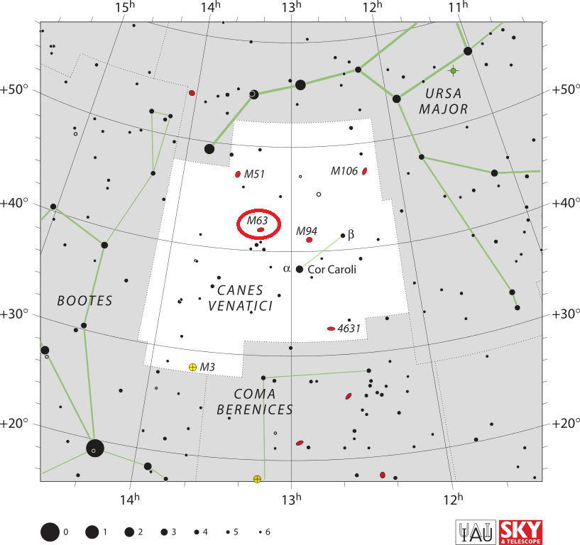 sunflower galaxy location,find messier 63,where is sunflower galaxy