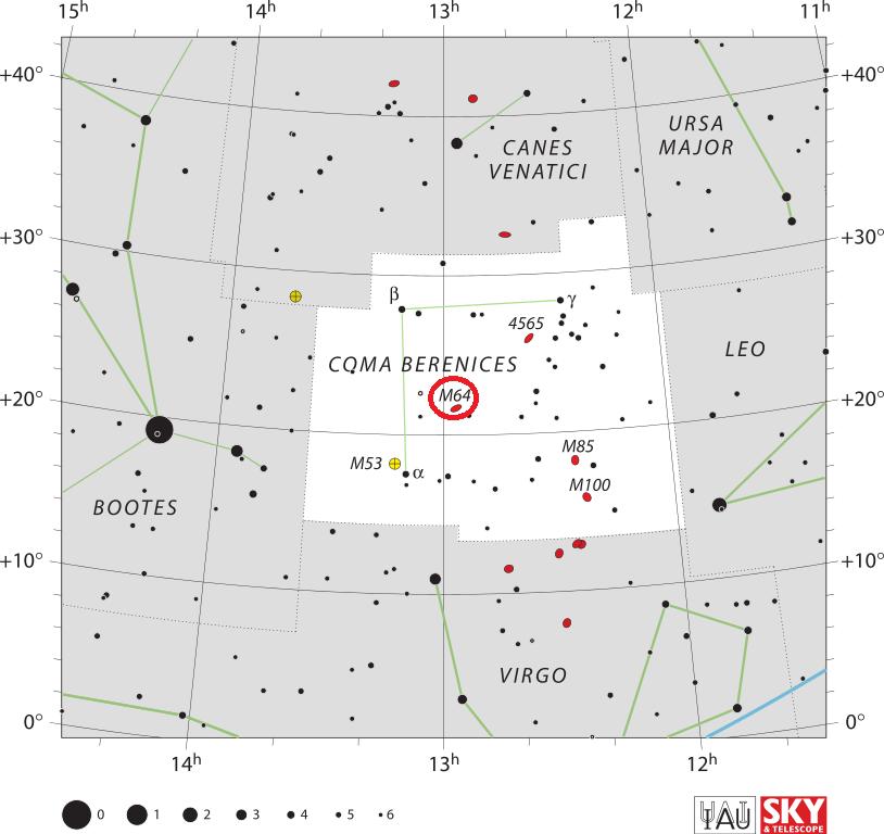 black eye galaxy location,find messier 64, where is evil eye galaxy