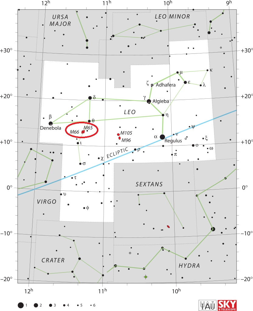 leo triplet location,find m66 group,where is leo triplet