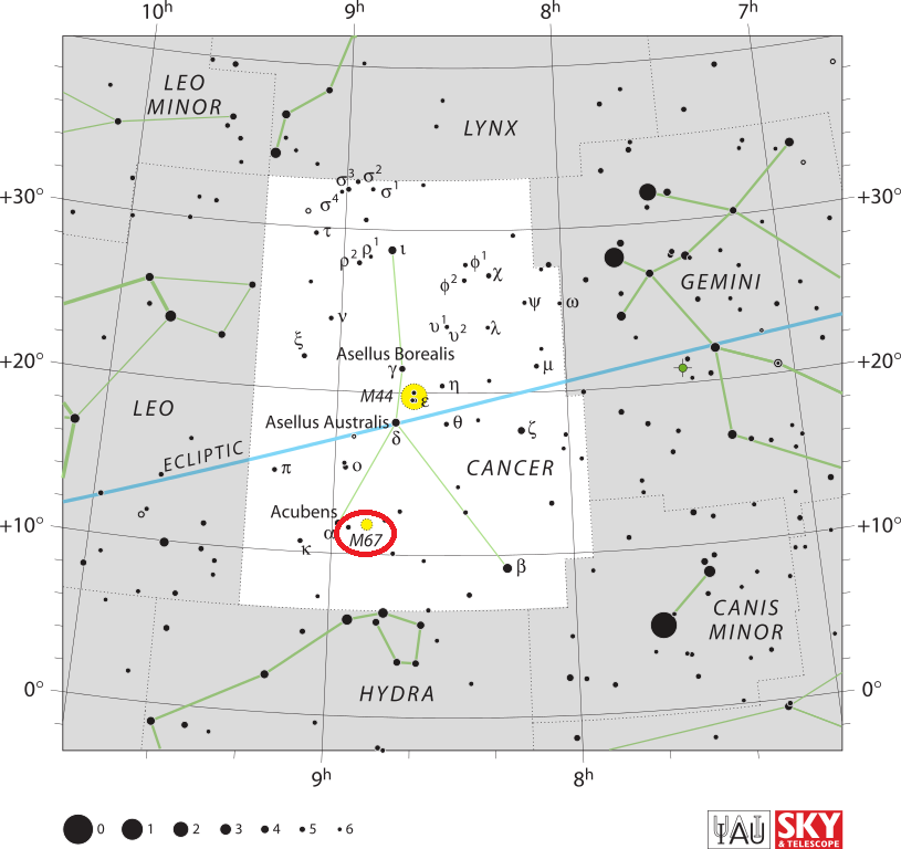 find messier 67,where is m67,m67 location
