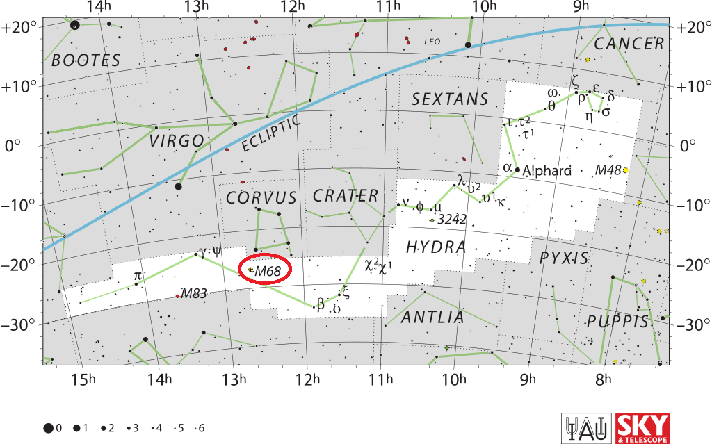 m68 location,where is messier 68, find messier 68