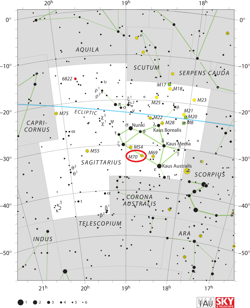 m70 location,find messier 70,where is messier 70