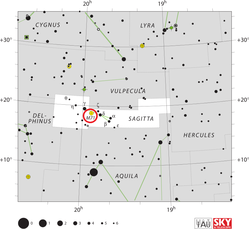 m71 location,where is messier 71,find messier 71