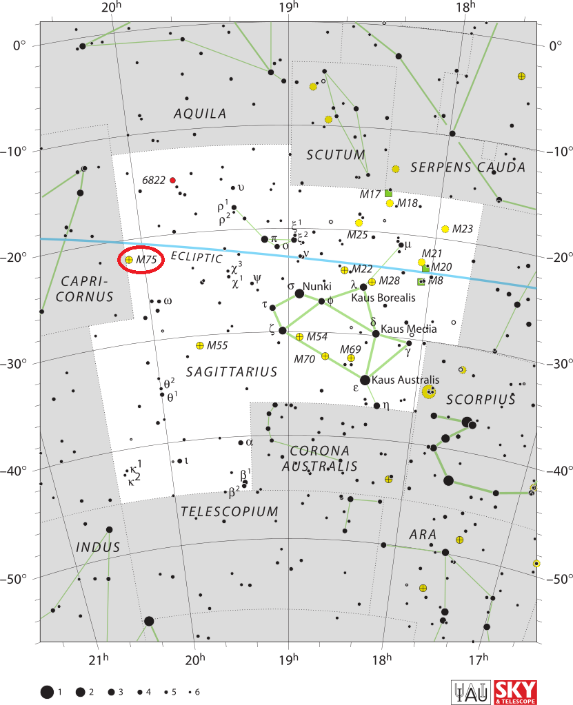 m75 location,find messier 75,where is messier 75