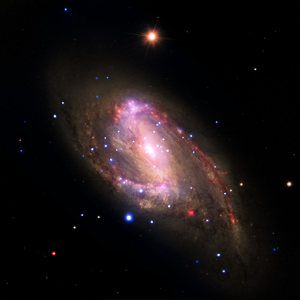 messier 66 visible light,messier 66 infrared