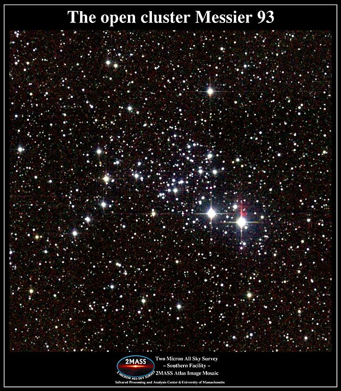 messier 93,m93 open cluster