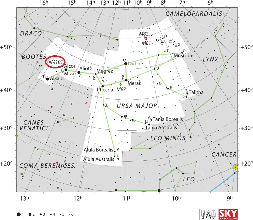 pinwheel galaxy location,find messier 101,m101 position,where is pinwheel galaxy in the sky