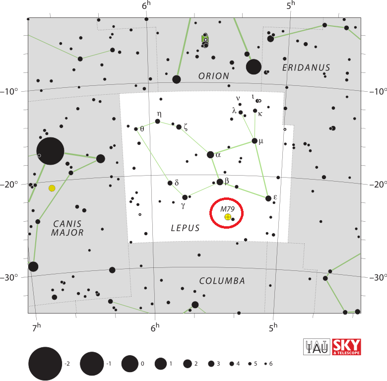 find messier 79,where is messier 79,m79 location