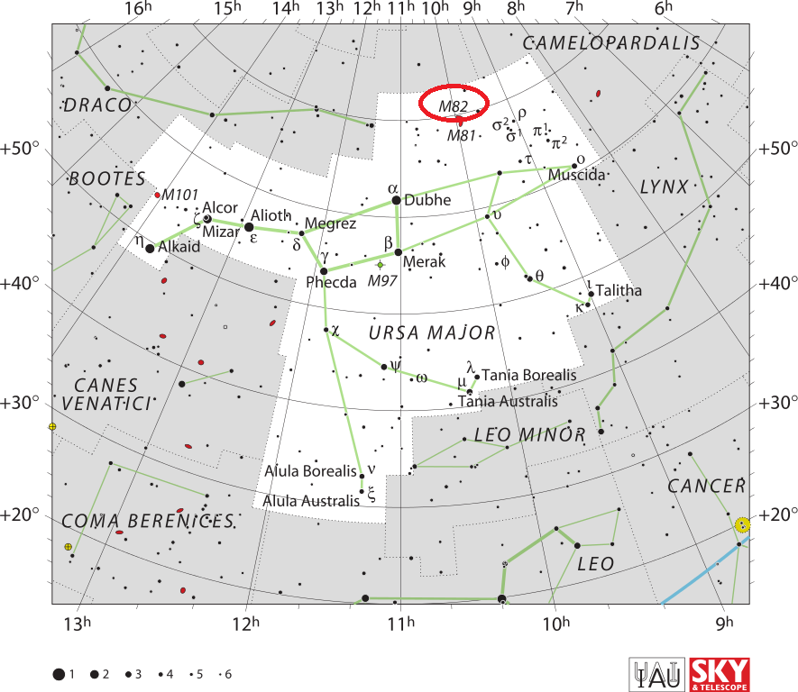 m82 location,find cigar galaxy,where is messier 82