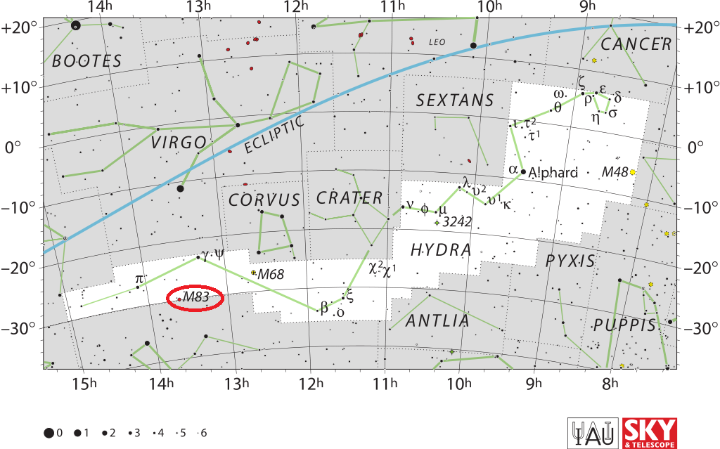 m83 location,southern pinwheel galaxy location,find m83,where is messier 83